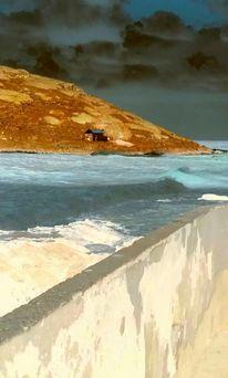 Meer, Digitale spielerei, Kreta, Sturm