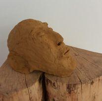 Mann, Tonkopf, Skulptur, Plastik