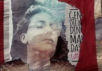 Frau, Collage, Träumen, Romantisch