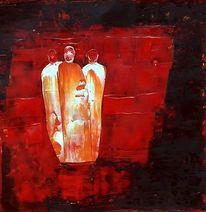 Menschen, Rot schwarz, Treffen, Malerei