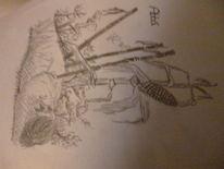 Bleistiftzeichnung, Mais, Zeichnung, Feld