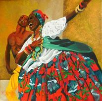 Baiana, Brazilien, Gemälde, Blumen