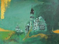 Acrylmalerei, Schloss, Malerei, Grün