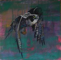 Tiere, Farben, Acrylmalerei, Komposition vögel