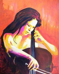 Frau, Cello, Bunt, Portrait