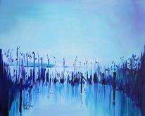 Schilf, Komposition, Acrylmalerei, Moor