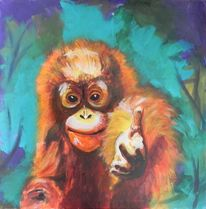 Acrylmalerei, Tiere, Orang utan, Affe