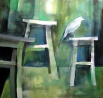 Weiß, Krähe, Stuhl, Malerei