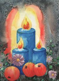 Kerzen, Weihnachten, Advent, Aquarell