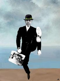 René magritte, Silly walking, Son, Mann