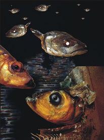 Lippenstift, Fisch, Fotomontage, Digitale kunst