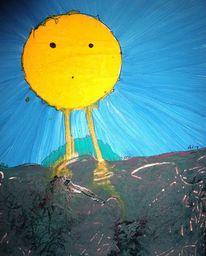 Wanderung, Sonne, Bein, Malerei