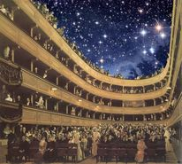 Burgtheater wien, Sternenhimmel, Klimt, Mischtechnik