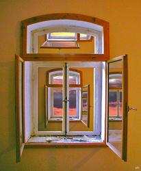 Zimmer, Fenster, Licht, Mischtechnik
