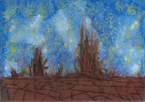 Himmel, Erde, Verbrennen, Malerei