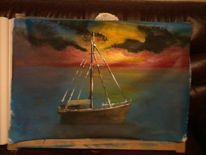 Saonnenuntergant, Boot, Malerei, Sonnenuntergang