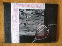 Warm, Modern, Rot schwarz, Malerei