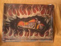 Feuer, Motorrad, Malerei,