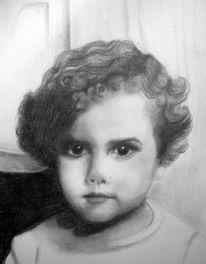 Weiß, Kind, Portrait, Grau