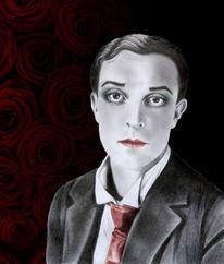 Anzug, Rot schwarz, Schminke, Portrait