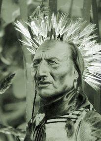Indianer, Bleistiftzeichnung, Pusteblumen, Tauperlen