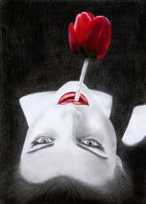 Collage, Zigarette, Frau, Rot schwarz