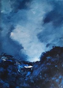 Landschaft, Acrylmalerei, Himmel, Blau