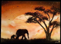 Sonnenuntergang, Afrika, Elefant, Malerei