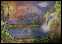 Berge, Wasserfall, See, Spraydosen