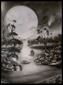 Wasserfall, Baum, Berge, Mond