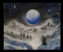 Himmel, Wasserfall, Mond, Baum