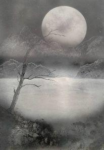 Himmel, Mond, Malerei, Stille