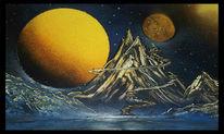 Mond berg see, Malerei