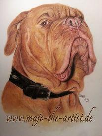 Tiere, Pastellmalerei, Bordeauxdogge, Hund
