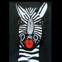 Kuss, Mund, Zebra, Malerei