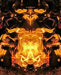 Fantasie, Mystik, Spiegelung, Flammengemälde