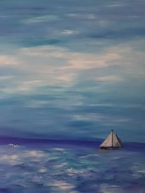 Sturm, Segelboot, Tiefe, Himmel