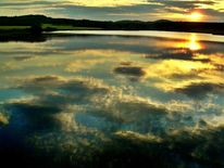 Spiegelung sonnenuntergang, Abend, Himmel, Untergang