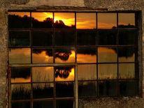 Fenster, Spiegelung, Abend, Sonnenuntergang