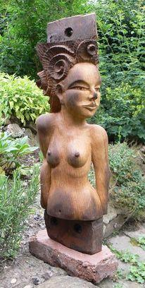Figur, Holz, Alt, Frau