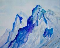 Italien, Aquarellmalerei, Landschaft, Dolomiten