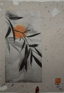 Sumi, Mond, Japanpapier, Collage
