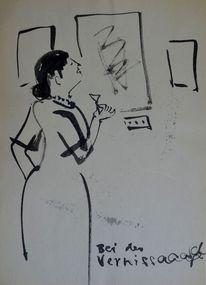 Zeichnung, Vernissage, Karikatur, Zeichnungen