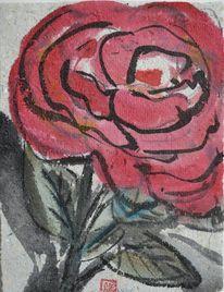 Zeichnung, Blüte rot, Selbstgeschöpftes papier, Japantusche