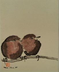 Äste, Braun, 2 jungvögel, Tuschezeichnung