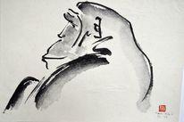 Affe, Sumi, Kopf, Tuschmalerei