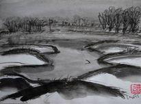 Landschaft, Tuschezeichnung, Winter, Sumi