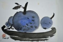 Blaue früchte, Sumi, Zeichnung, Teller