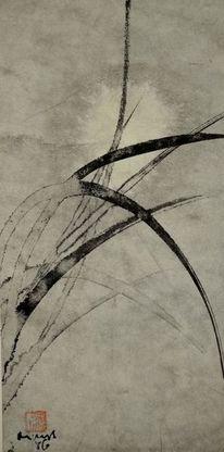Gras, Sumi, Vollmond, Japanpapier