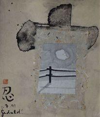 Collage, Japanpapier, Geduld, Zeichnung